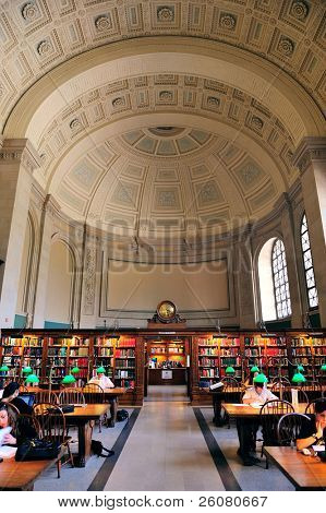 BOSTON, MA - JUN 20: Boston Library interior on June 20, 2011 in Boston, Massachusetts. The Boston Public Library is the first publicly supported municipal library in US with 8.9 million collection.