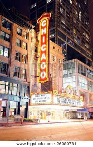 CHICAGO, IL - OCT 6: Chicago Theatre night view on October 6, 2011 in Chicago, Illinois. Built in 1921, Chicago Theatre was the flagship for the B&K group and was listed as a Chicago Landmark in 1983.