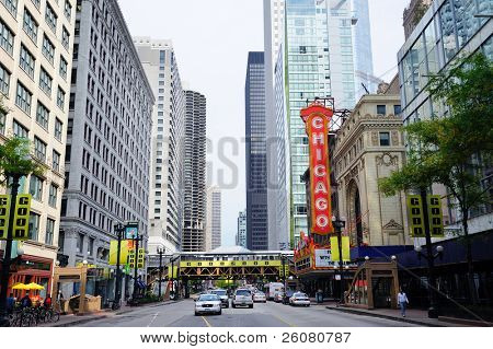 CHICAGO, IL - OCT 6: Chicago Theatre and street view on October 6, 2011 in Chicago, Illinois. The Chicago Loop is the historic commercial center of downtown Chicago featured with City Attractions.