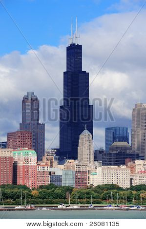 CHICAGO, IL - 6 de outubro: Willis tower close-up em 6 de outubro de 2011 em Chicago, Illinois. Willis Tower kno