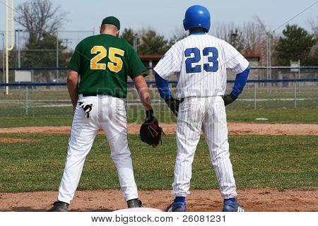 Baseball players at first base