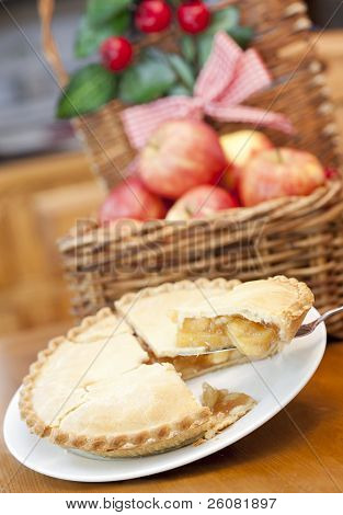 Apple Pie On A Wooden Table