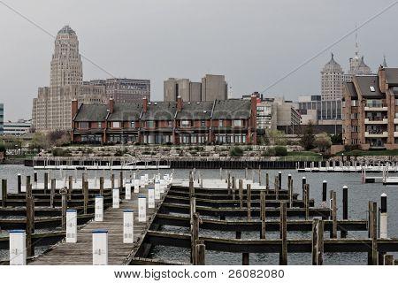 An empty marina on the waterfront of Buffalo, NY