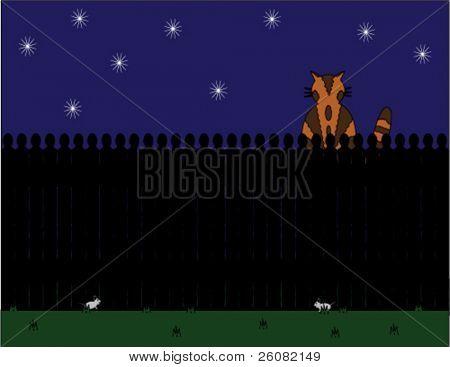Gato sentado en una valla en la noche como ratones jugar a continuación.