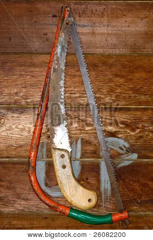 Bow saw and pruning saw hanging against a wooden wall.
