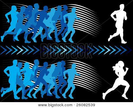Breaking away from the pack. Vector silhouettes of runners. Raster Version.