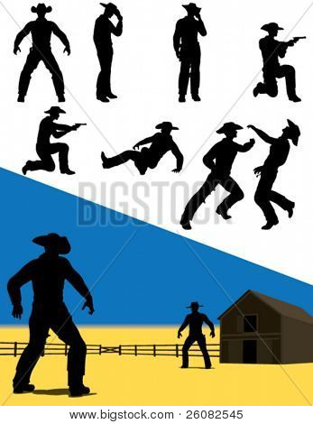 vector Silhouettes of westlichen Cowboys in Aktion.