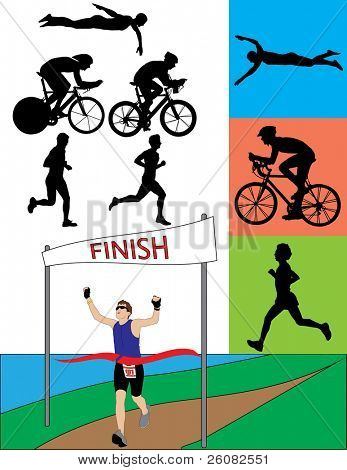 Triathlon Silhouetten Raster version