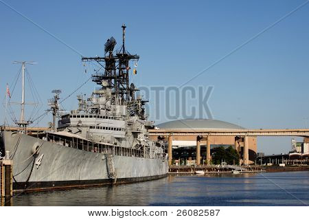WWII era battleship docked in Buffalo, NY