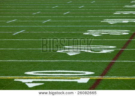 An Artificial turf American football field - horizontal