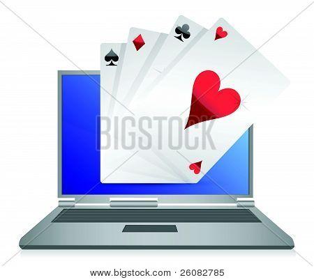 online gambling cards game illustration design on white
