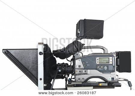Professional studio Video Camera with telepromter, Isolated on white.