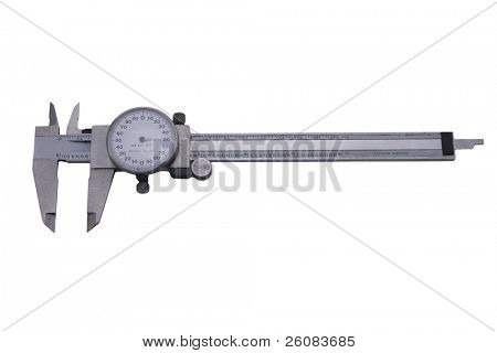 Dial vernier caliper isolated on white