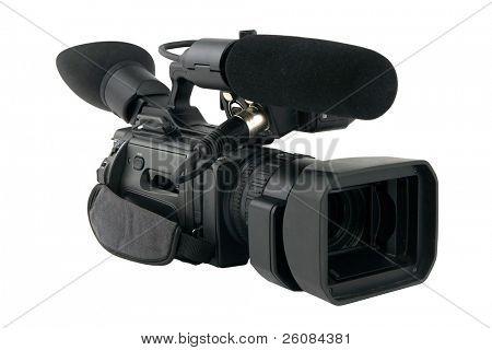 Prosumer camcorder isolated on white