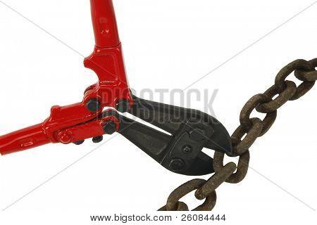 Bolt cutters breaking rusty chain