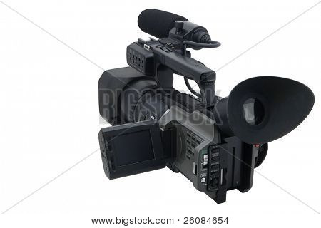 Prosumer camcorder isolated on white