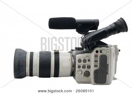 Older analog camcorder isolated on white