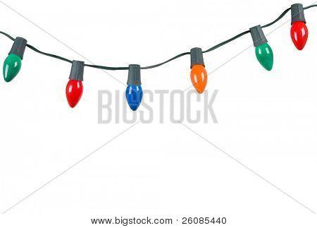 Cadena de luces de Navidad, aislado en blanco