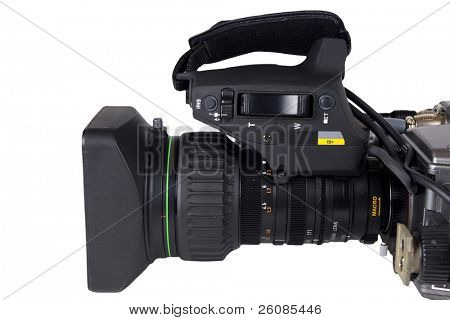 Professional Video Camera lens isolated on white