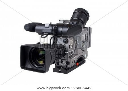Professional-Videokamera, isolated on white