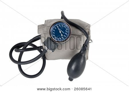 Blood pressure monitor or sphygmomanometer, medical device isolated on white