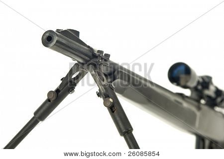 Rifle with scope and bipod