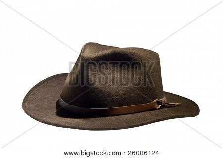 vintage fedora hat on white background