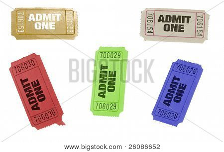 set of ticket admit one different colors isolated on white