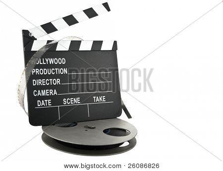 pizarra con rollo de película de Hollywood badajo