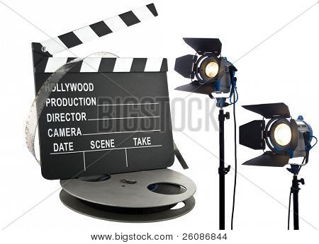 hollywood slate with film reel and lights