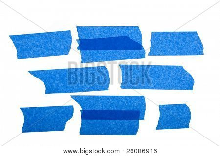 strips of blue masking  tape isolated on white background.
