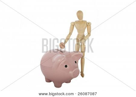 piggy bank and wood guy