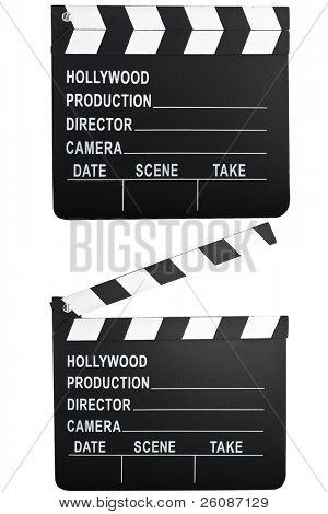 movie camera slate clapper board open and closed.