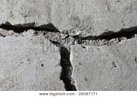 cracked road concrete close up