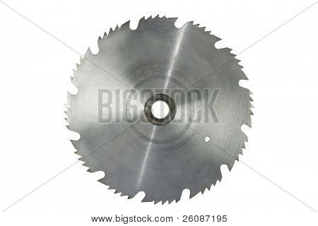 rusty circular saw blade isolated on white
