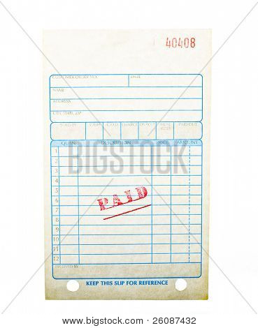 Blank paid invoice