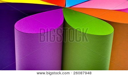 Colored paper background stacked to form flower shape