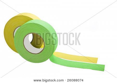 two rolls of gaffers tape isolated on white