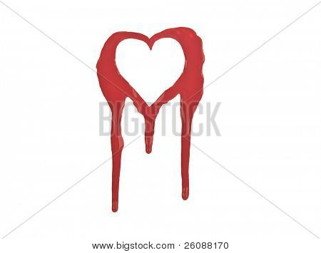 Red outline of bleeding heart Isolated on white