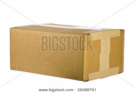 view of closed cardboard box on white background