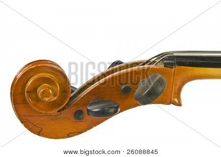 Wooden cello parts isolated on white background