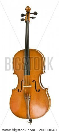 Vintage cello isolated on white