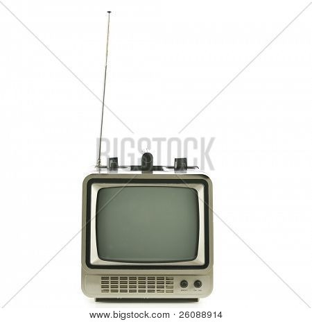 Old vintage TV over a white background