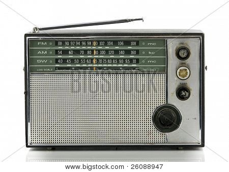 Old radio isolated on white