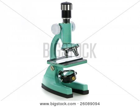 Microscope Side View isolated on White Background