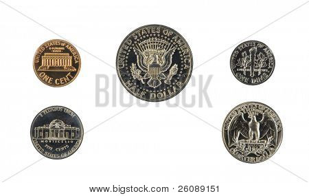 1971 US coin proof set back side isolated on white