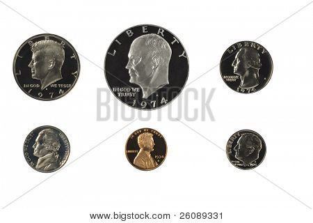 United states proof coins isolated on white