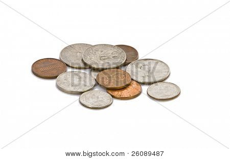 Full set of american coins in pile isolated on white