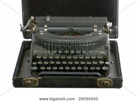 Vintage typewriter in case isolated on white