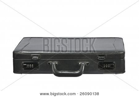Closed Black leather briefcase isolated on white
